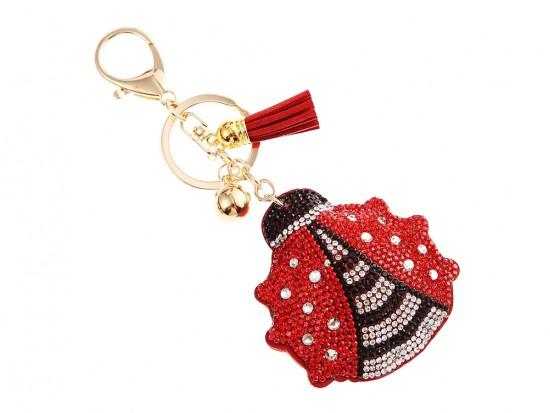 Red Ladybug Crystal Puffy Tassel Key Chain