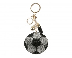 Black White Puffy Style Soccer Ball Key Chain