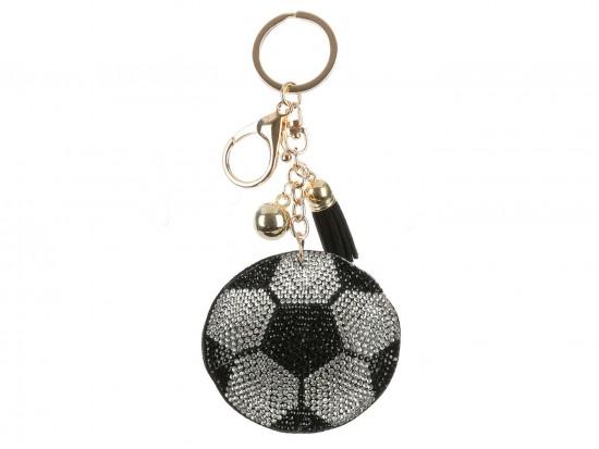 Black White Puffy Style Soccer Ball Key Chain
