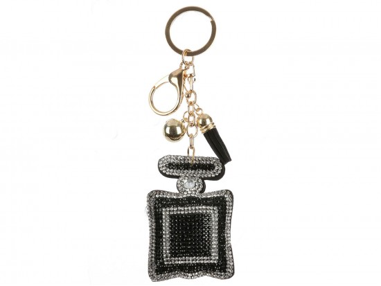 Black Clear Square Perfume Bottle Puffy Key Chain