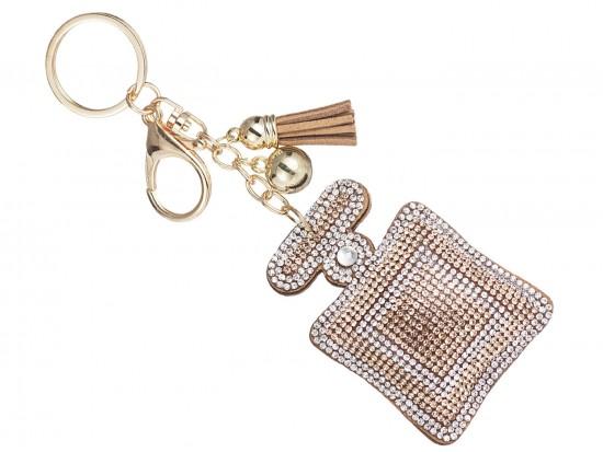 Golden Square Perfume Bottle Puff Key Chain