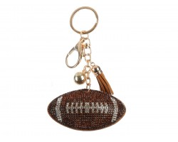Brown Clear Football Puffy Tassel Key Chain