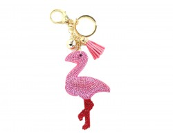 Hot Pink Flamingo Puffy Tassel Key Chain