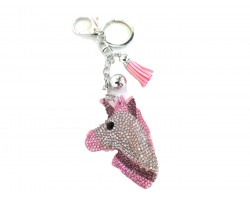 Light Pink Unicorn Head Puffy Tassel Key Chain