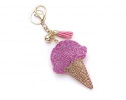 Pink Ice Cream Cone Tassel Puffy Key Chain
