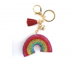 Multi Rainbow Tassel Puffy Keychain