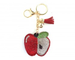 Red Apple Tassel Puffy Keychain