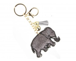Gray Crystal Elephant Puffy Keychain