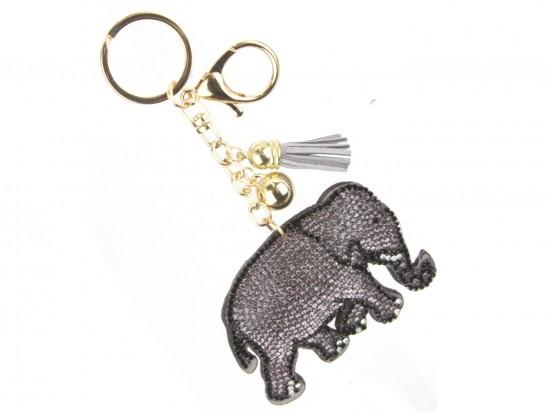 Gray Crystal Elephant Puffy Keychain