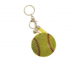 Yellow Crystal Softball Puffy Keychain