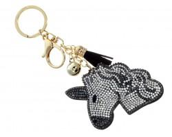 Black Color Unicorn Head Tassel Puffy Keychain