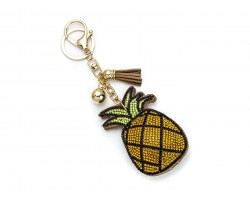 Yellowish Crystal Pineapple Tassel Puffy Keychain