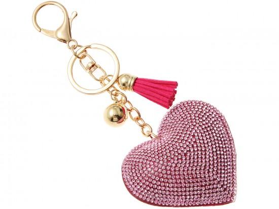 Pink Crystal Heart Tassel Puffy Keychain