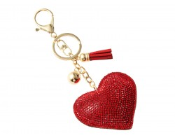 Red Crystal Heart Tassel Puffy Keychain