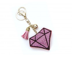 Pink Crystal Diamond Tassel Puffy Keychain