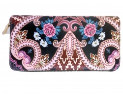 Black Multi Large Paisleys Zipper Wallet