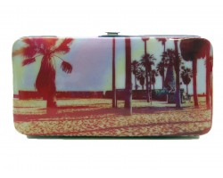 Maroon Red Palm Trees Clutch Wallet