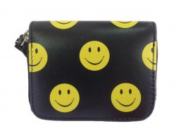 Black Yellow Emoji Small Zipper Wallet