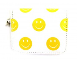 White Yellow Emoji Small Zipper Wallet