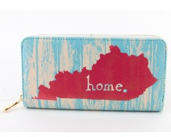 Turquoise Kentucky Map Home Zipper Wallet