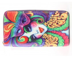Multi Mardi Gras Lady  Mask Zipper Wallet