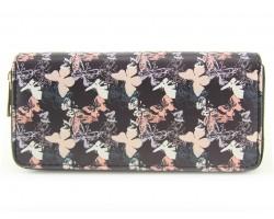 Black Multi Butterfly Pattern Zipper Wallet