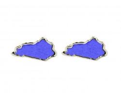 Blue Glitter Kentucky State Map Silver Post Earrings