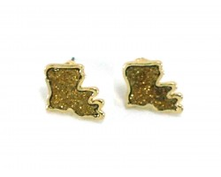 Gold Glitter Louisiana State Map Post Earrings