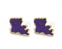 Purple Glitter Louisiana State Map Gold Post Earrings