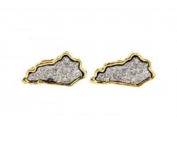Gray Glitter Kentucky State Map Post Earrings