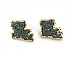 Gray Glitter Louisiana State Map Post Earrings