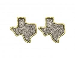 Gray Glitter Texas State Map Post Earrings