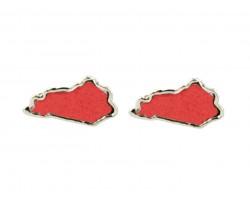 Red Glitter Kentucky State Map Silver Post Earrings