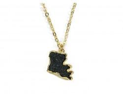 Black Gold Glitter Louisiana State Map Necklace