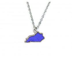 Blue Silver Glitter Kentucky State Map Necklace