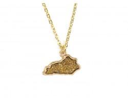 Gold Glitter Kentucky State Map Necklace