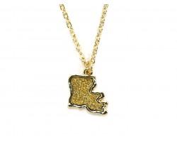 Gold Glitter Louisiana State Map Necklace