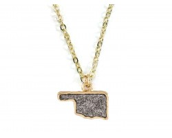 Gray Glitter Oklahoma State Map Necklace