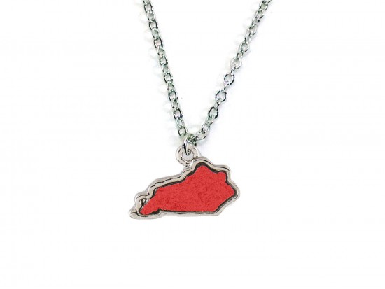 Red Silver Glitter Kentucky State Map Necklace