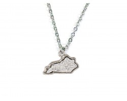 Silver Glitter Kentucky State Map Necklace