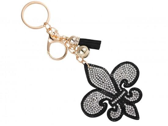 Clear Black Fleur De Lis Crystal Tassel Key Chain
