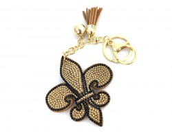 Gold Black Fleur De Lis Crystal Tassel Key Chain