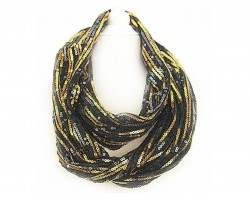 Black Gold Sequin Infinity Scarf