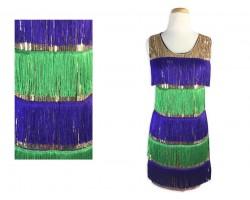 Mardi Gras Stripe Pattern Sequin Flapper Dress