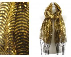Black Gold Sequin Cascade Fringe Oblong Scarf