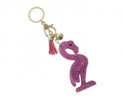 Pink Flamingo Tassel Puffy Keychain