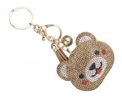 Brown Bear Crystal Tassel Key Chain