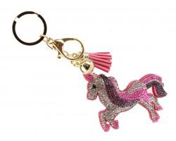 Pink Unicorn Puffy Tassel Key Chain