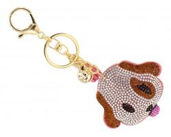 Brown Crystal Dog Puffy Key Chain