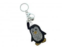 Black Penguin Crystal Puffy Tassel Keychain